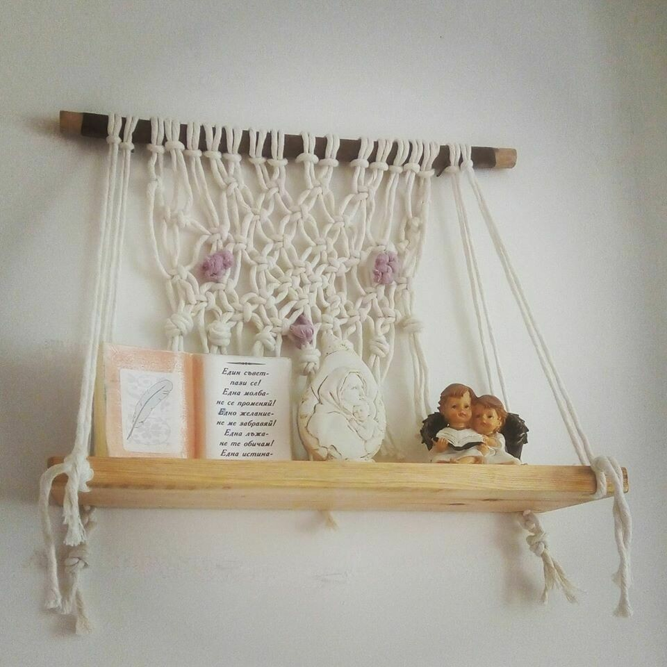 Hanging macrame shelf