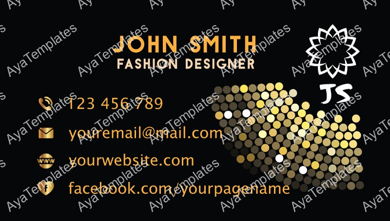 business card template design fashion designer aya templates