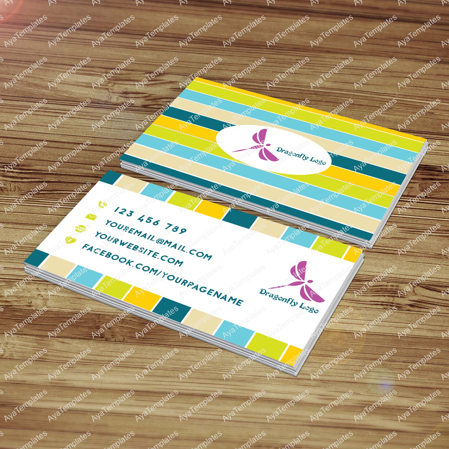 "Business card template design – ""Dragonfly"" – AYA Templates"