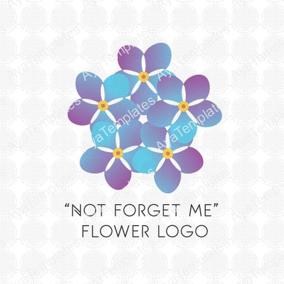 """Not forget me"" flower logo – AYA Templates Forget Me Not Logo"