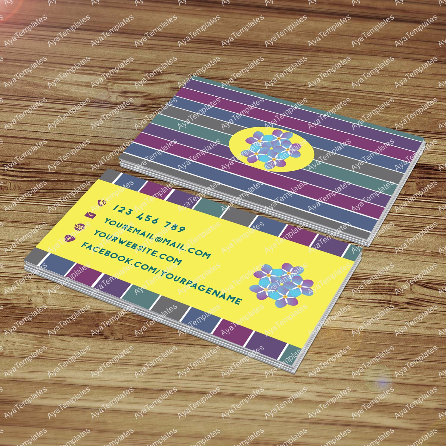 Business card designs aya templates business card template design forget me not alramifo Images