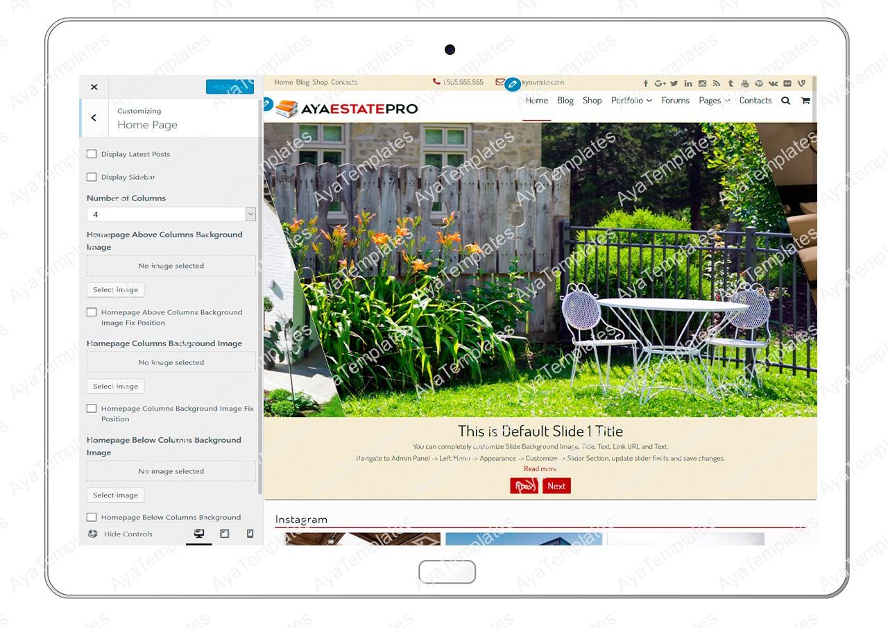 AyaEstatePro-cusotmizing-home-page