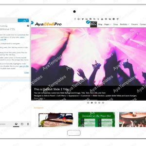 tablet product gallery mockup AyaClubPro Customizing Additional CSS