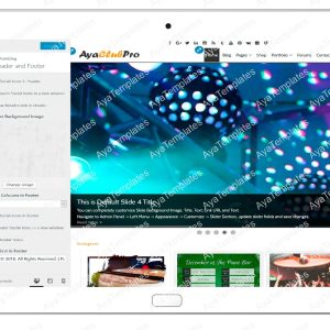 tablet product gallery mockup AyaClubPro Customizing Header and Footer