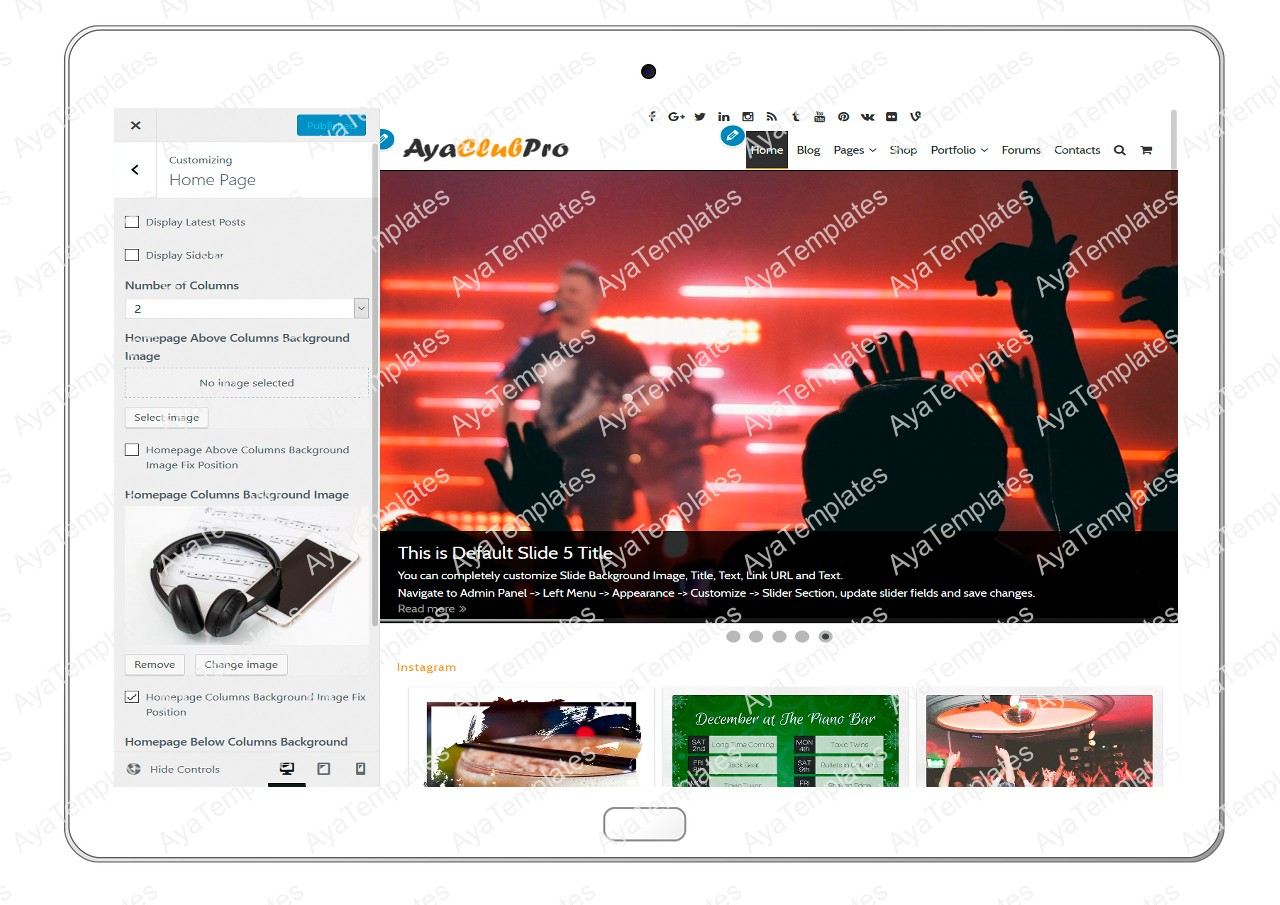 tablet product gallery mockup AyaClubPro Customizing HomePage