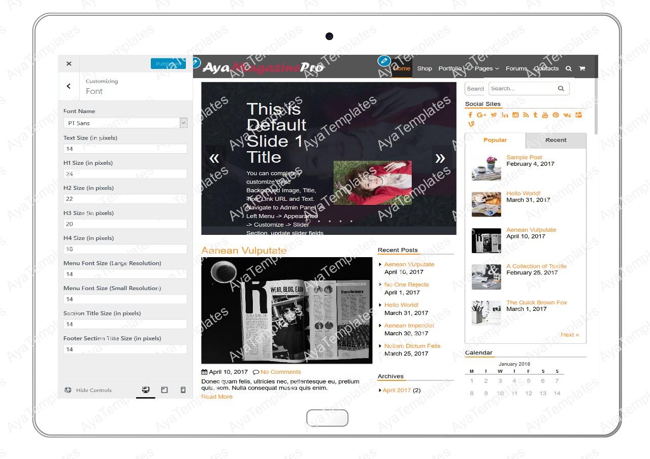 tablet-product-gallery-mockup-AyaMagazinePro-Customizing-Font