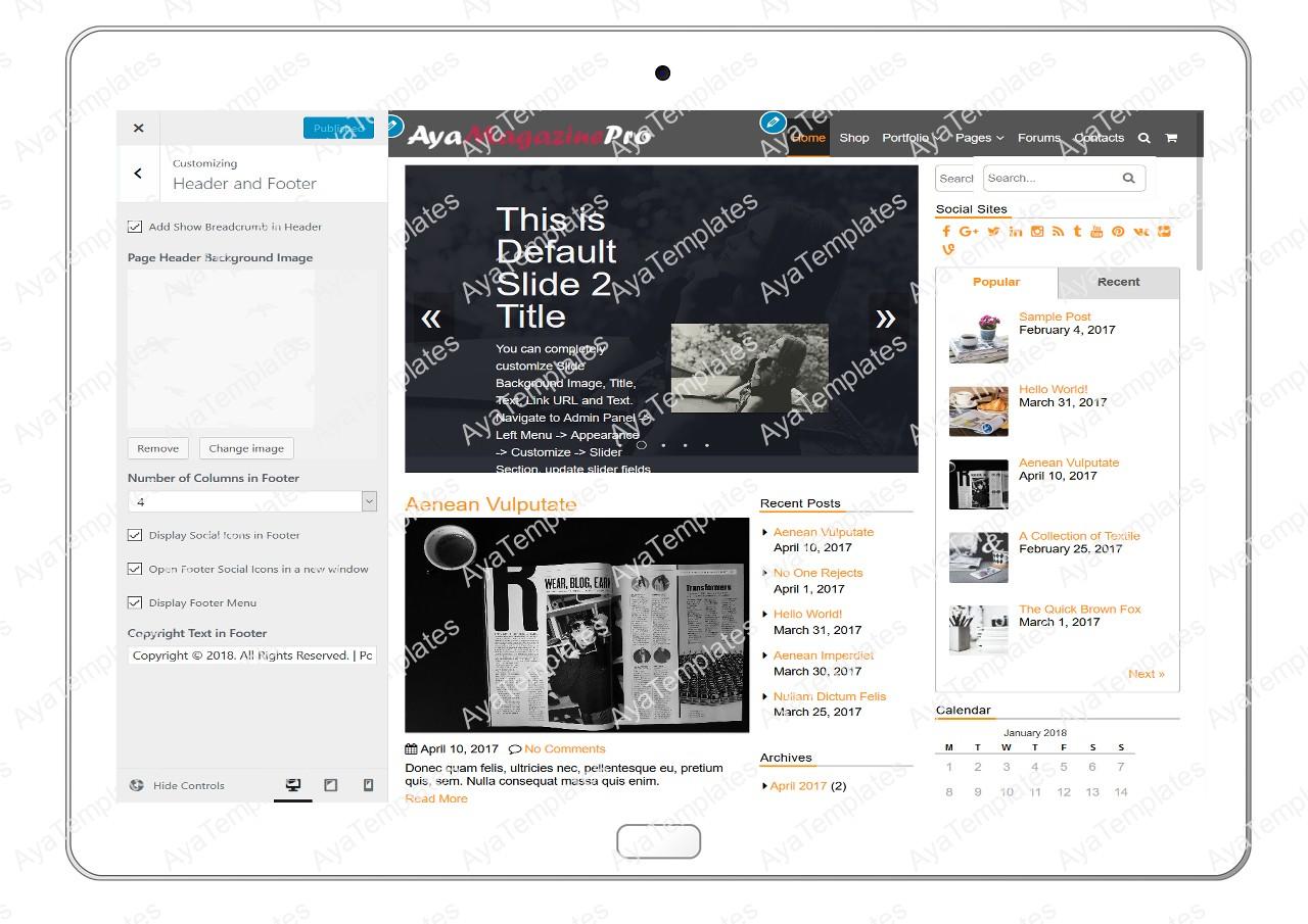 tablet-product-gallery-mockup-AyaMagazinePro-Customizing-HeaderandFooter