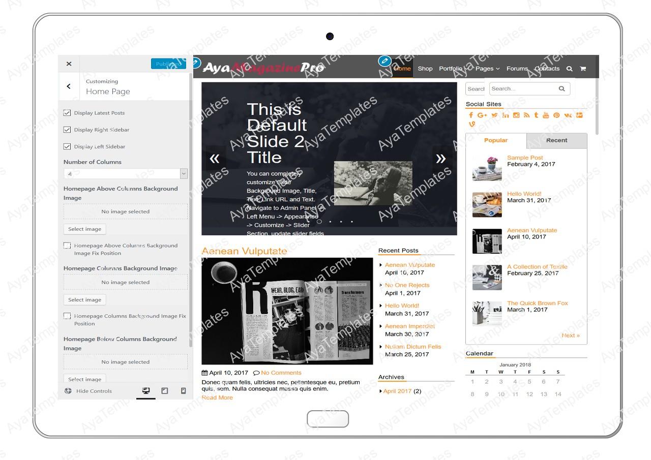 tablet-product-gallery-mockup-AyaMagazinePro-Customizing-HomePage
