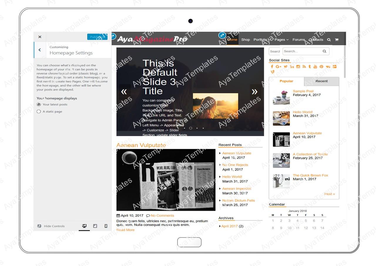 tablet-product-gallery-mockup-AyaMagazinePro-Customizing-HomepageSettings