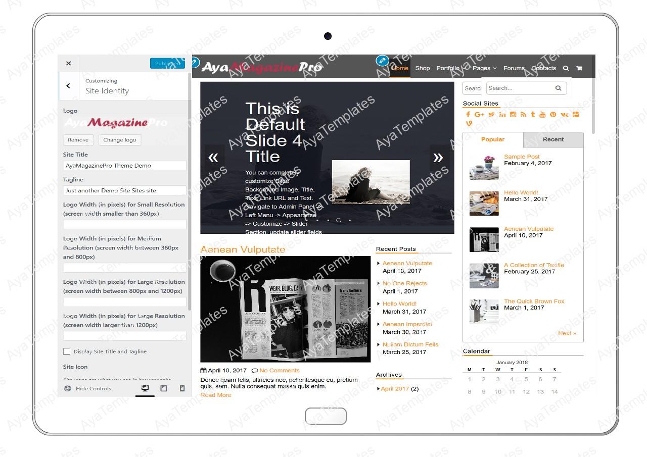 tablet-product-gallery-mockup-AyaMagazinePro-Customizing-SiteIdentity