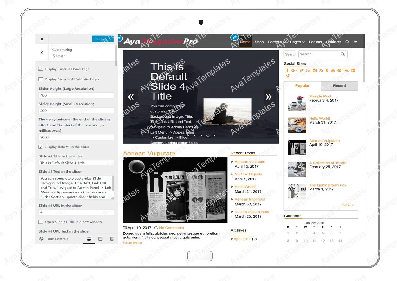 tablet-product-gallery-mockup-AyaMagazinePro-Customizing-Slider
