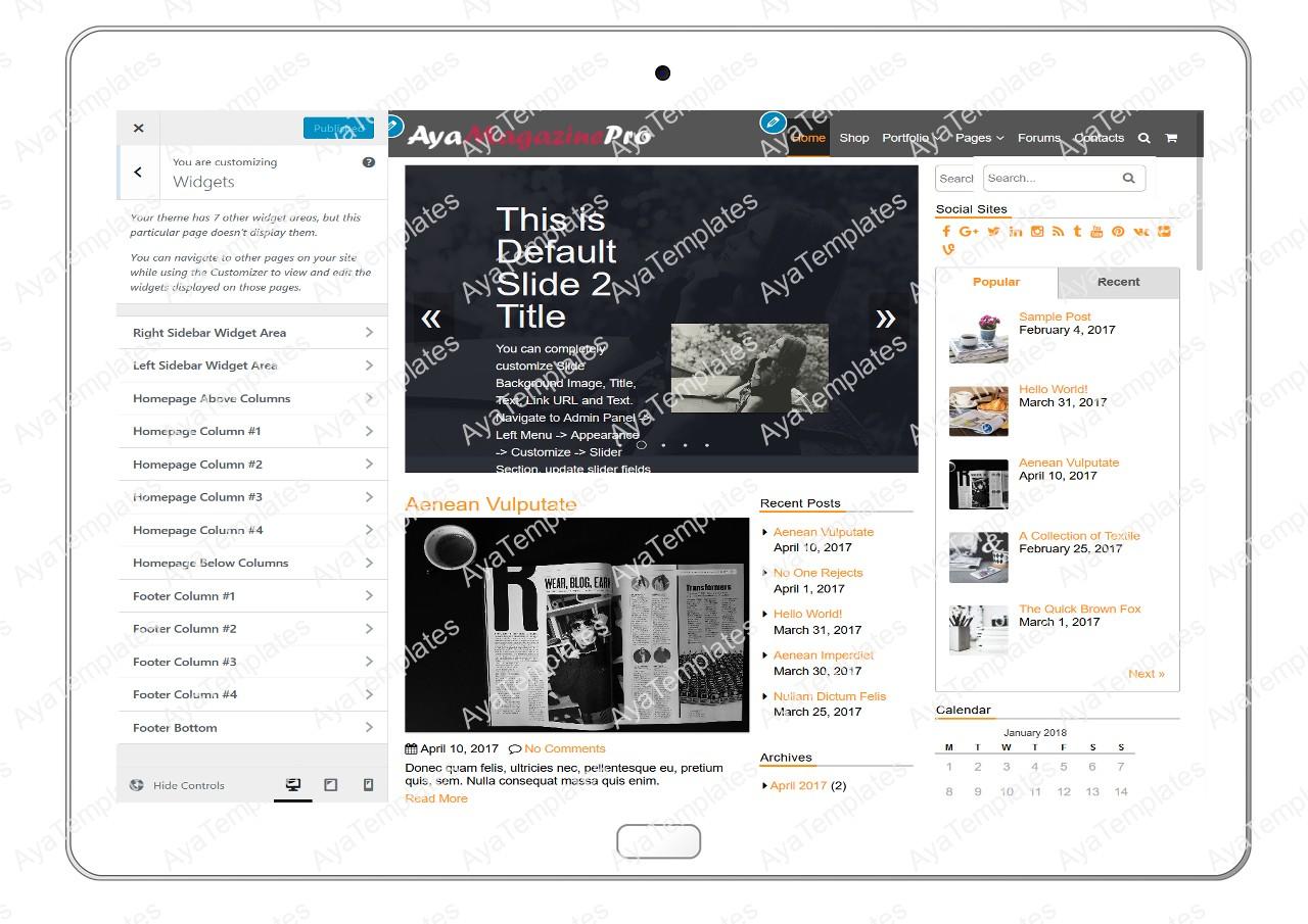 tablet-product-gallery-mockup-AyaMagazinePro-Customizing-Widgets