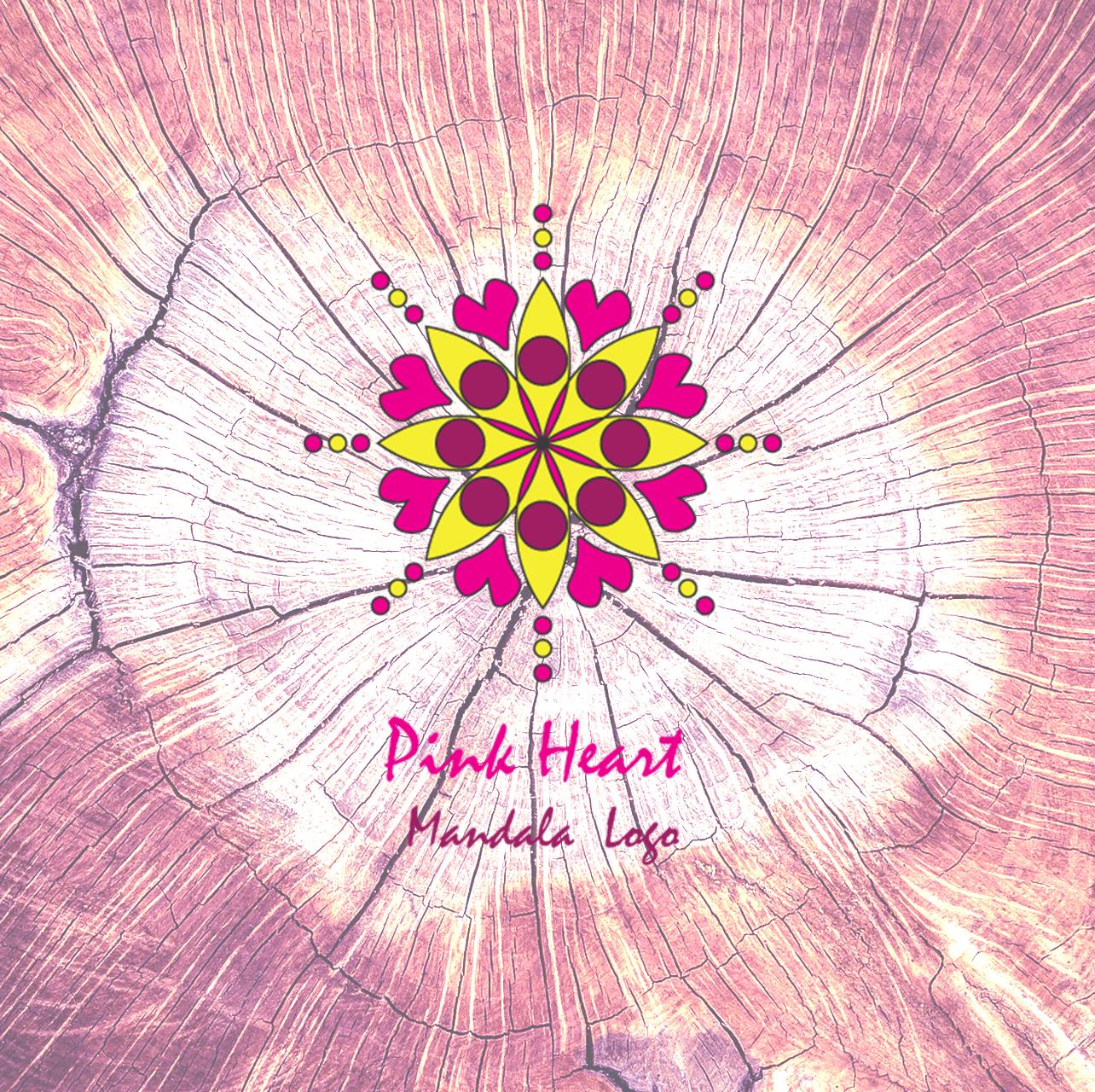 pink heart mandala logo aya templates