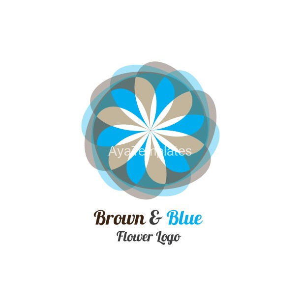 Brown-Blue-Flower-Logo