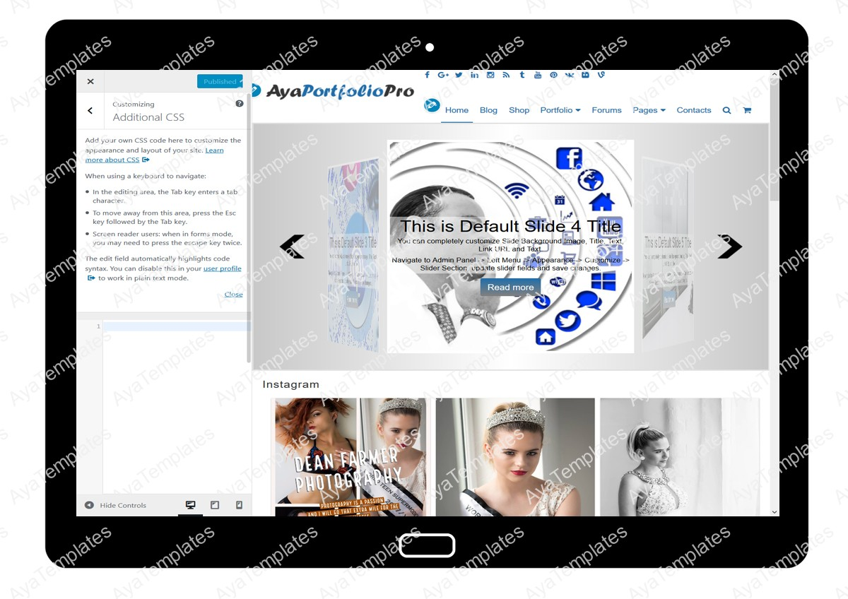 AyaPortfolioPro Customizing Additional CSS