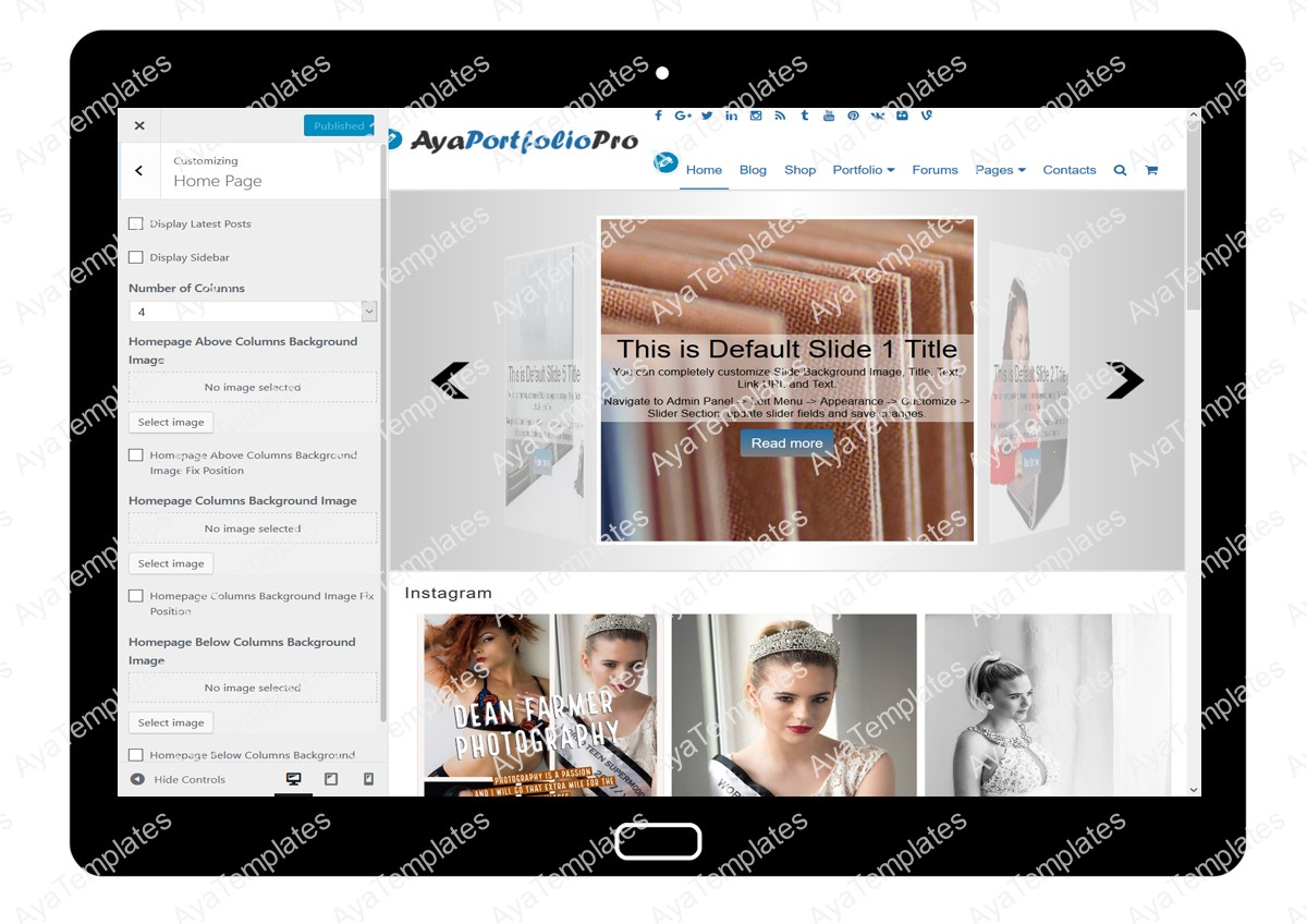 AyaPortfolioPro Customizing Home Page