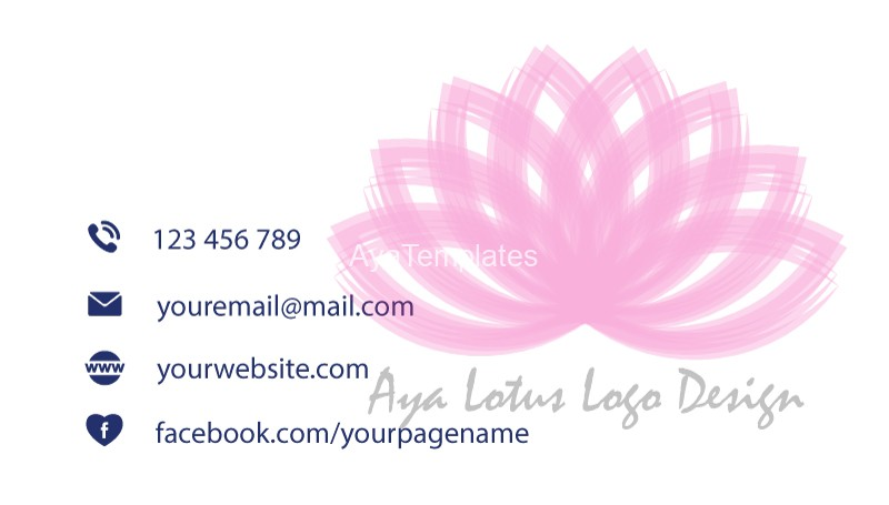 Business-card-template-Aya-lotus-logo-back