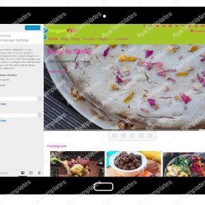 VeganPro Customizing Homepage Settings