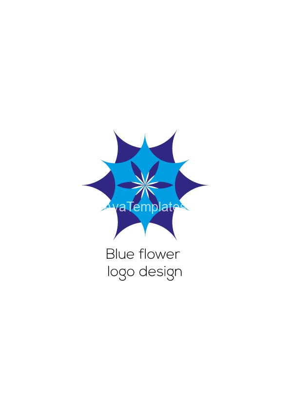 Blue flower logo design