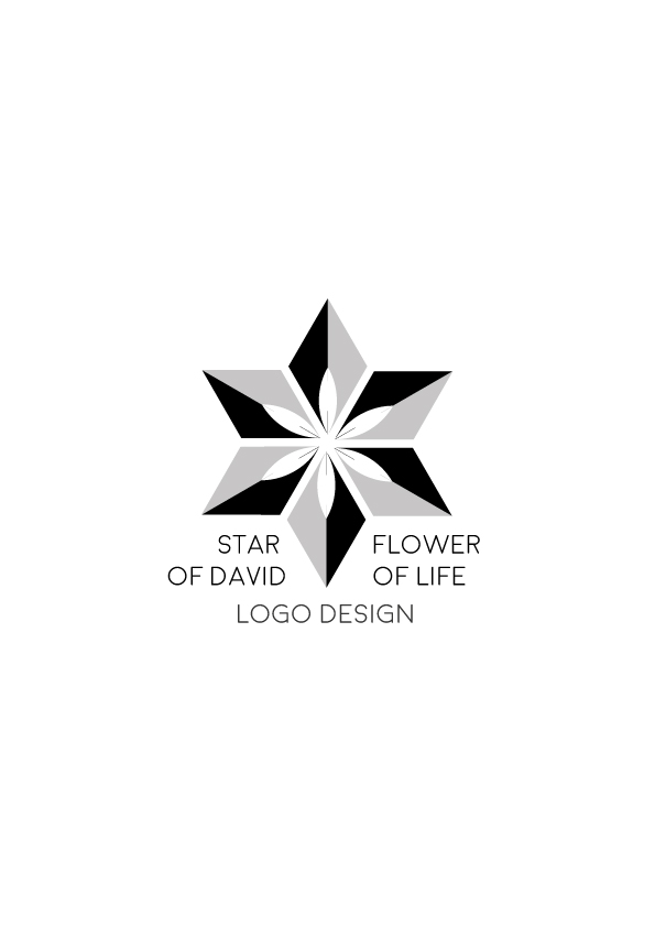 Star-of-David-flower-of-life---logo-design-black-gray-white-version