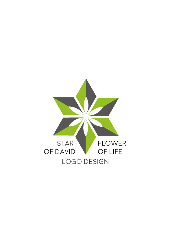 Star-of-David-flower-of-life---logo-design-green-gray-version