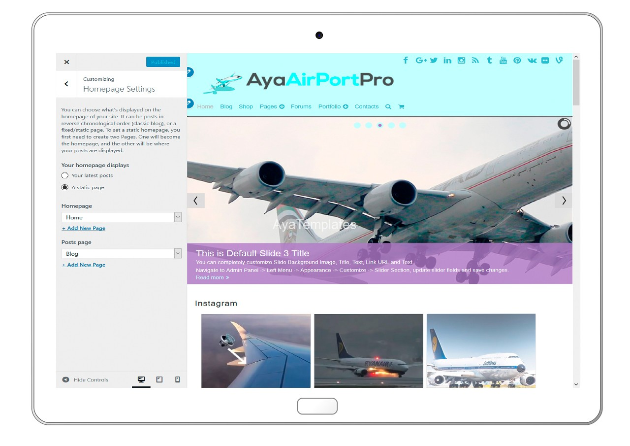 ayaairportpro-customizing-homepage-settings