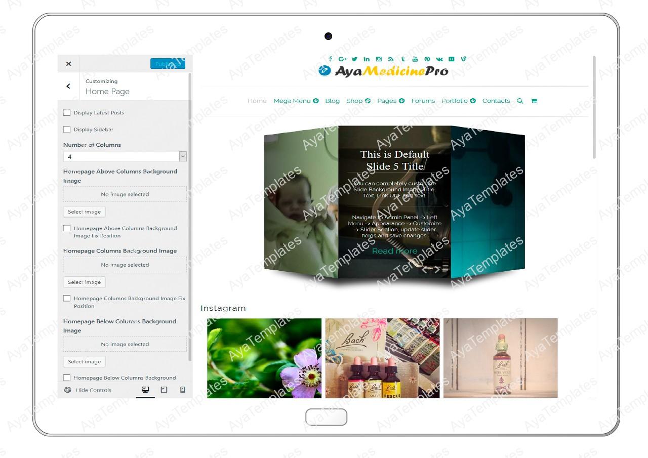 ayamedicinepro-customizing-homepage