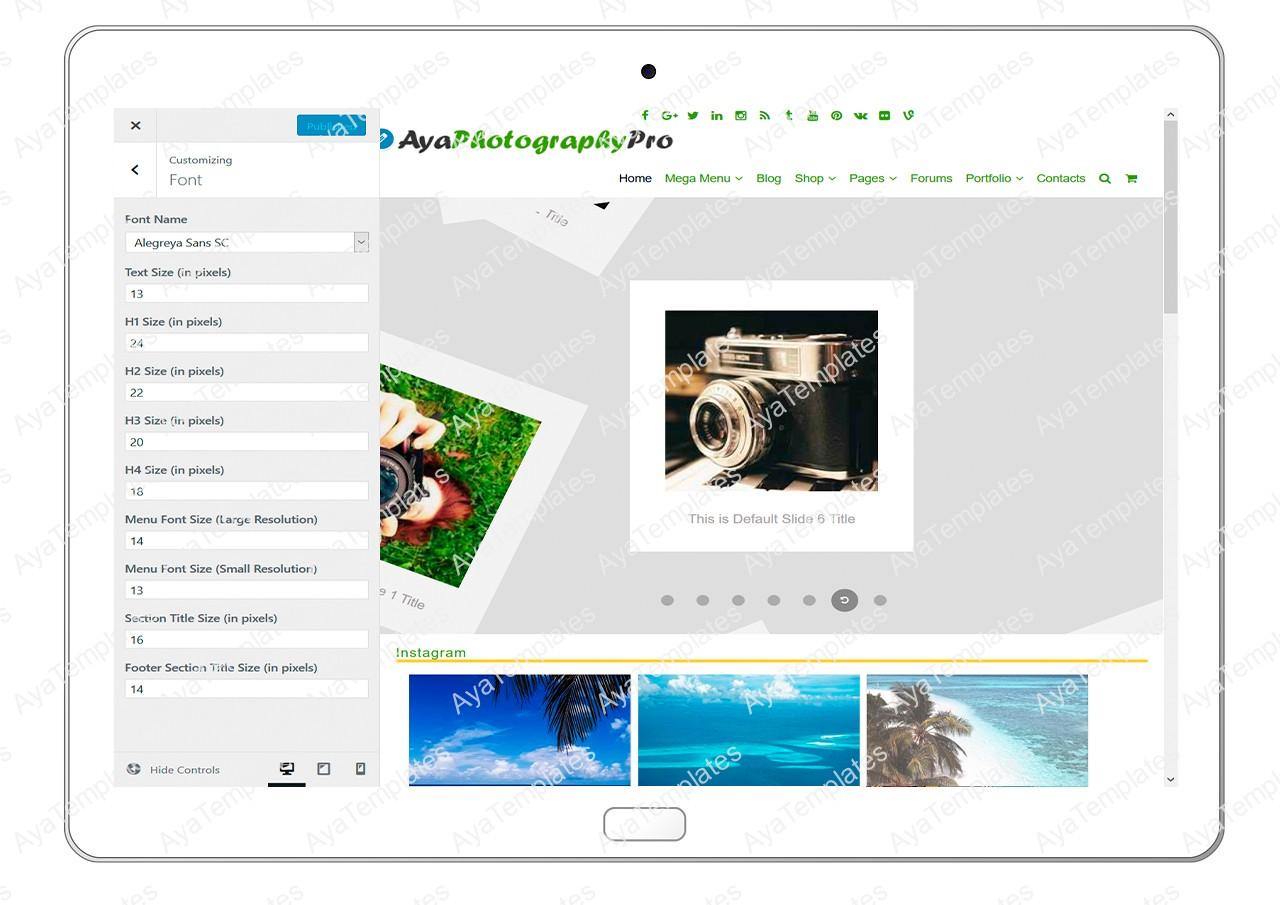 ayaphotograpypro-customizing-font