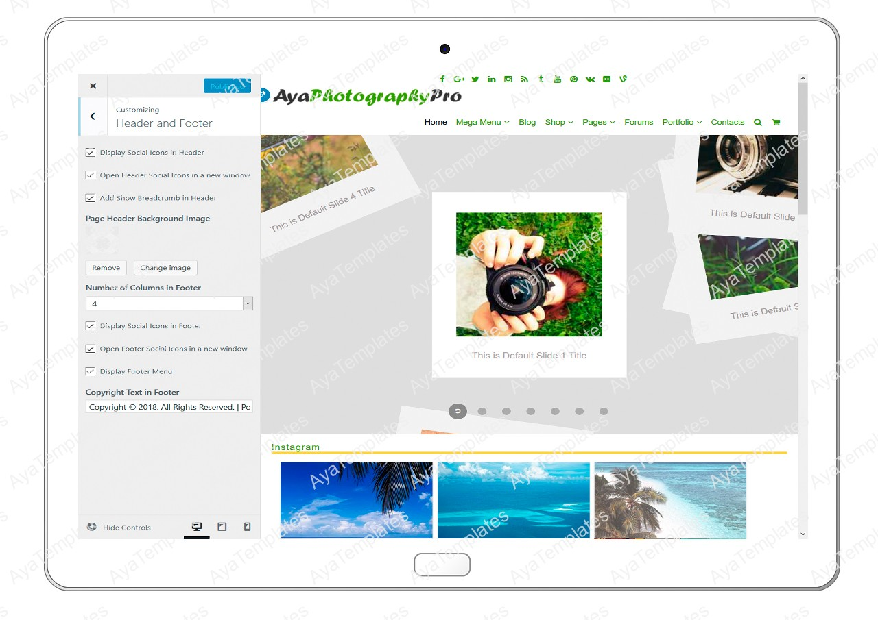 ayaphotograpypro-customizing-header-and-footer