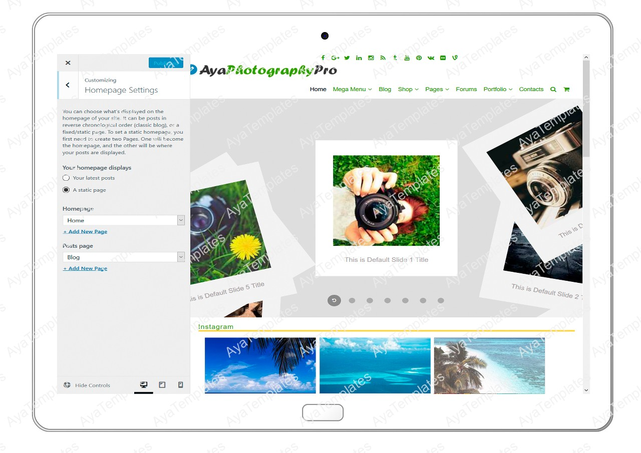 ayaphotograpypro-customizing-homepage-settings