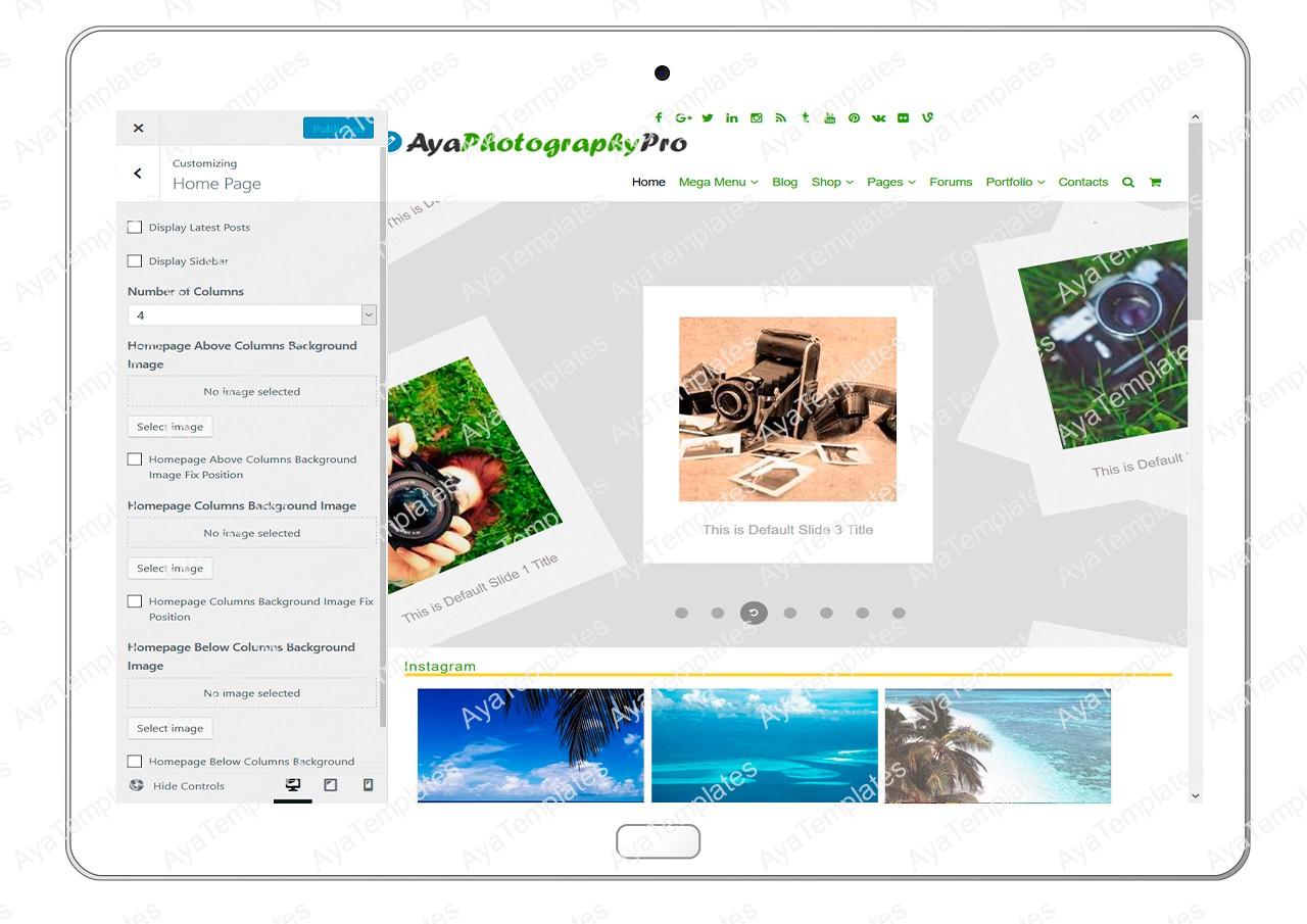 ayaphotograpypro-customizing-homepage