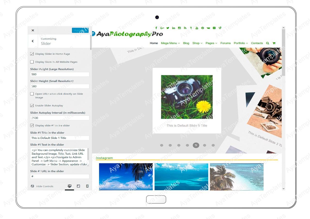 ayaphotograpypro-customizing-slider