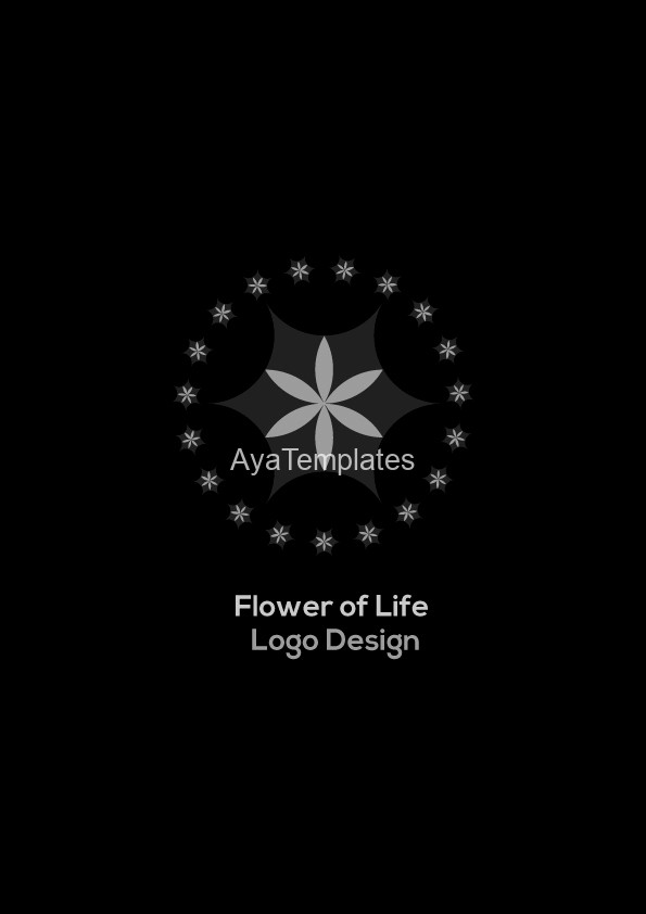 Flower-of-life-logo-design-red-star-black-and-white-version