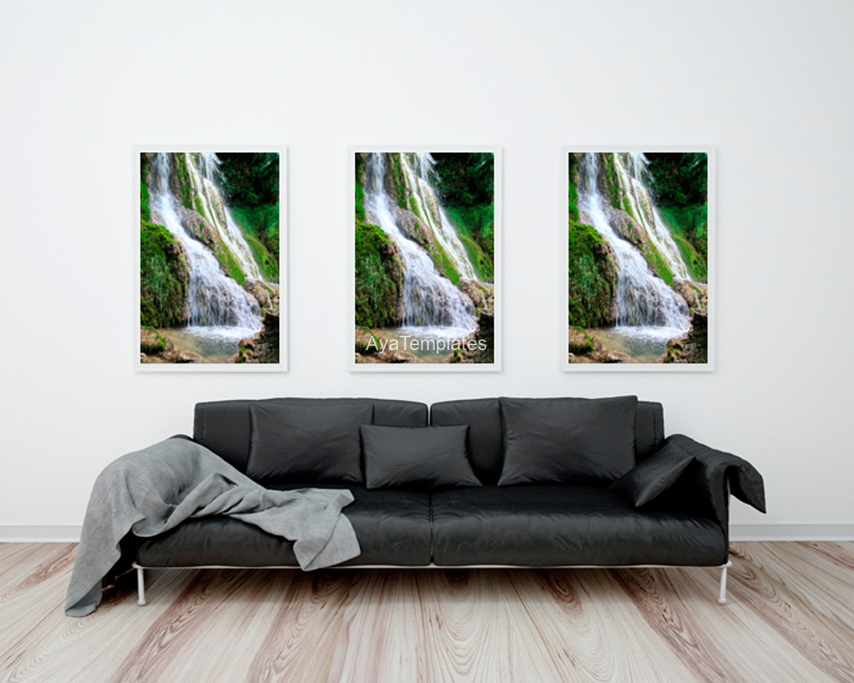 Krushuna Waterfalls Photography Printing Frame On The Wall Mockup
