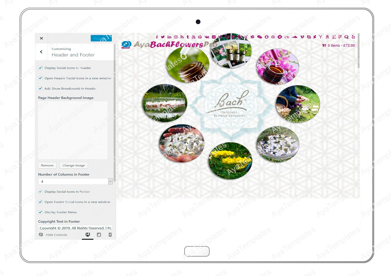 AyaBachFlowersPro-customizing-header-and-footer