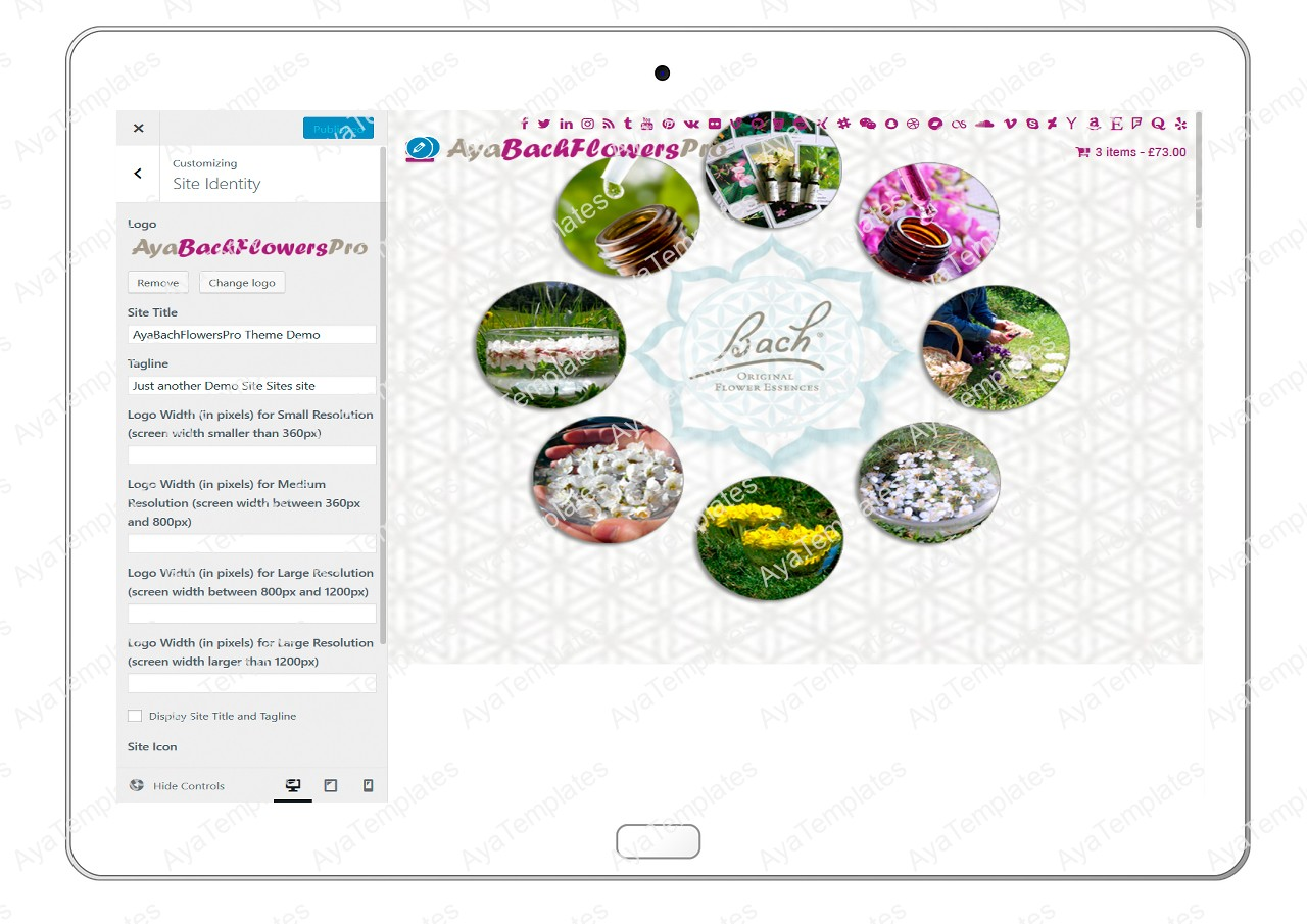 AyaBachFlowersPro-customizing-site-identity