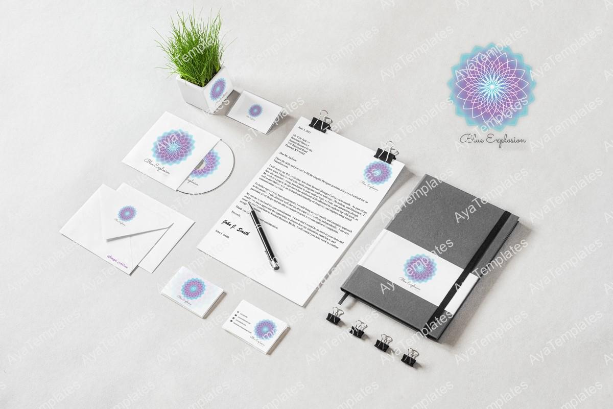 Blue-Explosion-flower-logo-design-branding-mockup-aya-templates
