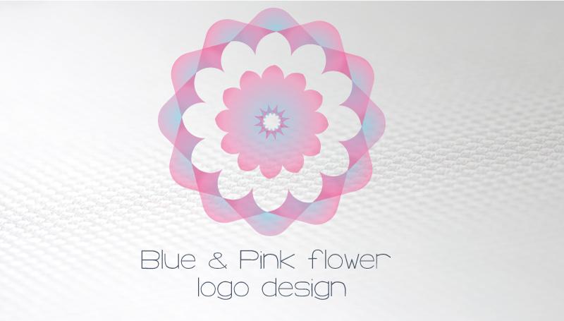 Business-card-blue-pink-flower-logo-design-front
