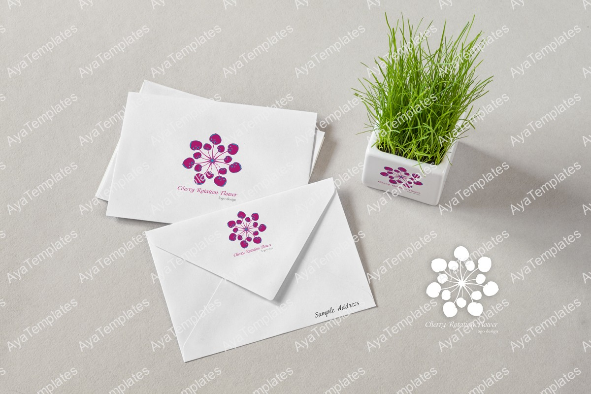 Cherry-Rotation-flower-logo-design-branding-mockup-aya-templates