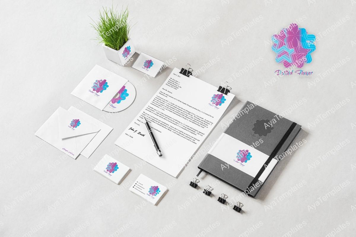 Dotted-flower-logo-design-branding-ayatemplates