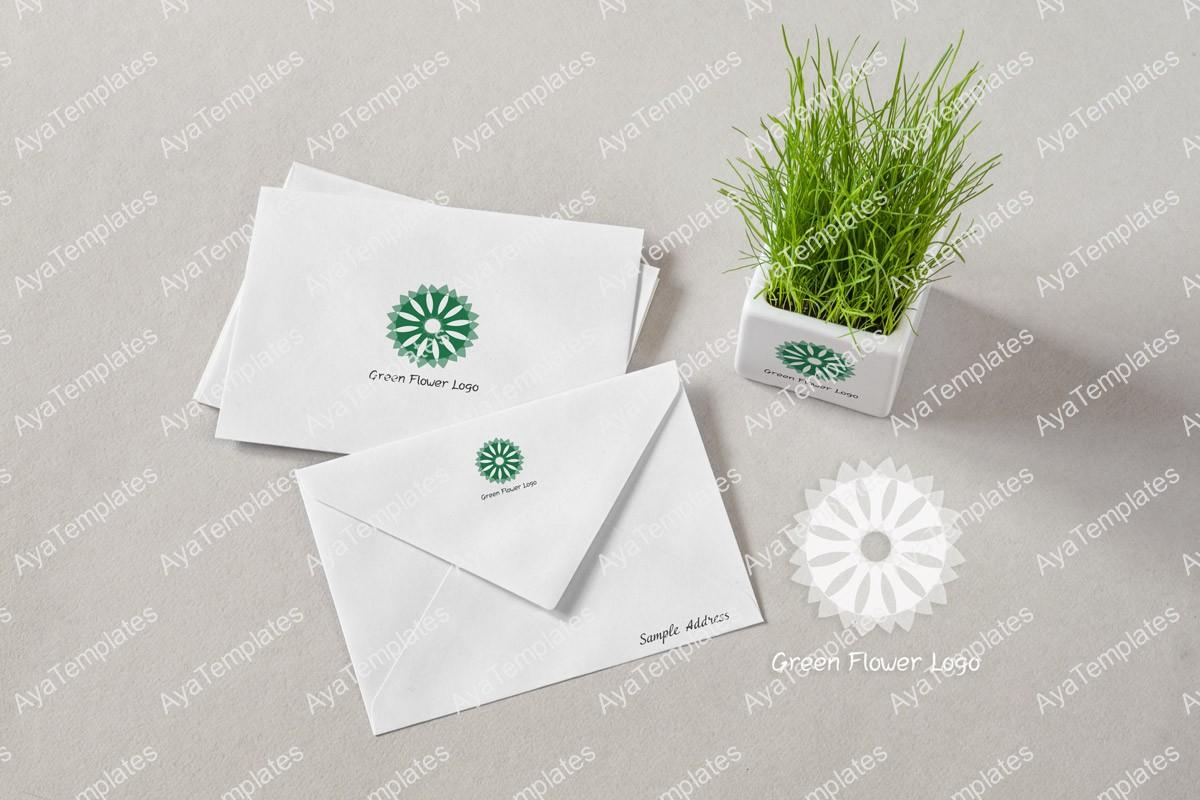 Green-flower-logo-design-branding-mockup-ayatemplates