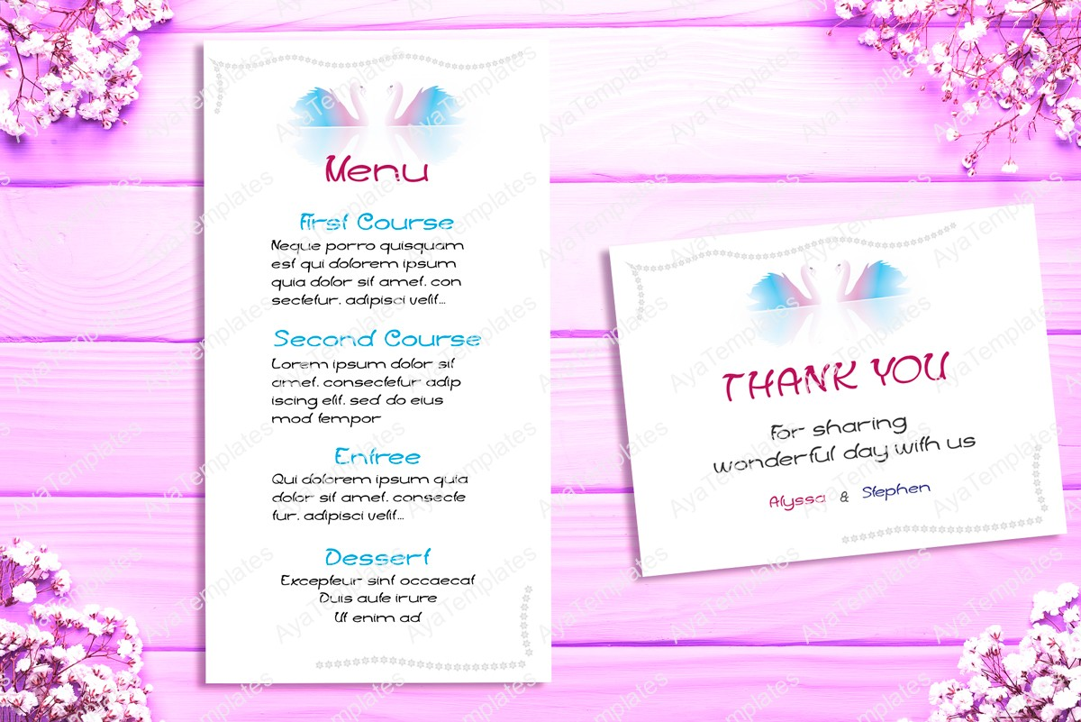 "Wedding Invitation Suite Templates: Wedding Invitation Suite ""Swans"""