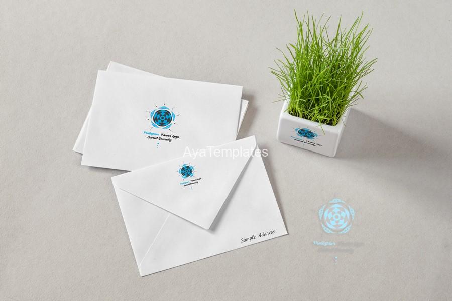 Pentagram-flower-logo-design-brand-iidentity-mockup
