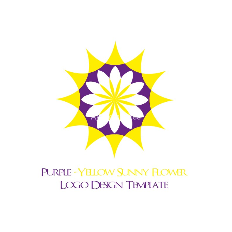 Purple-Yellow-Sunny-Flower-logo-design