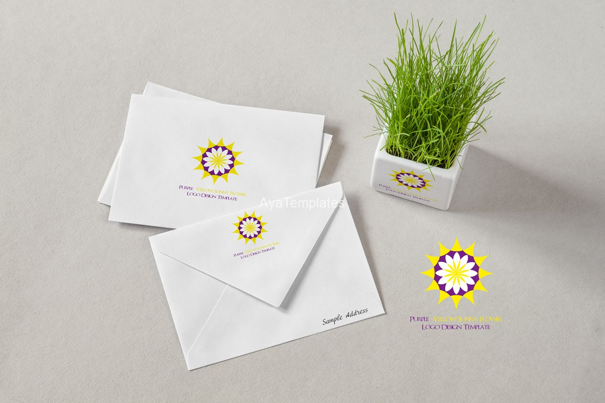Purple-Yellow-sunny-flower-logo-design-template-branding-mockup-ayatemplates