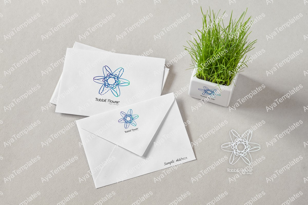 Rabbit-flower-logo-design-brand-mockup-ayatemplates