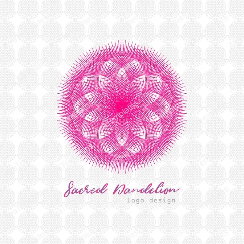 Sacred-Dandelion-flower-logo-design