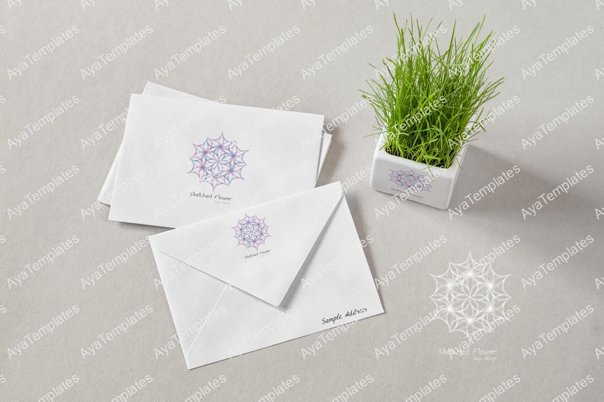 Sketched-Flower-logo-design-branding-mockup---ayatemplates