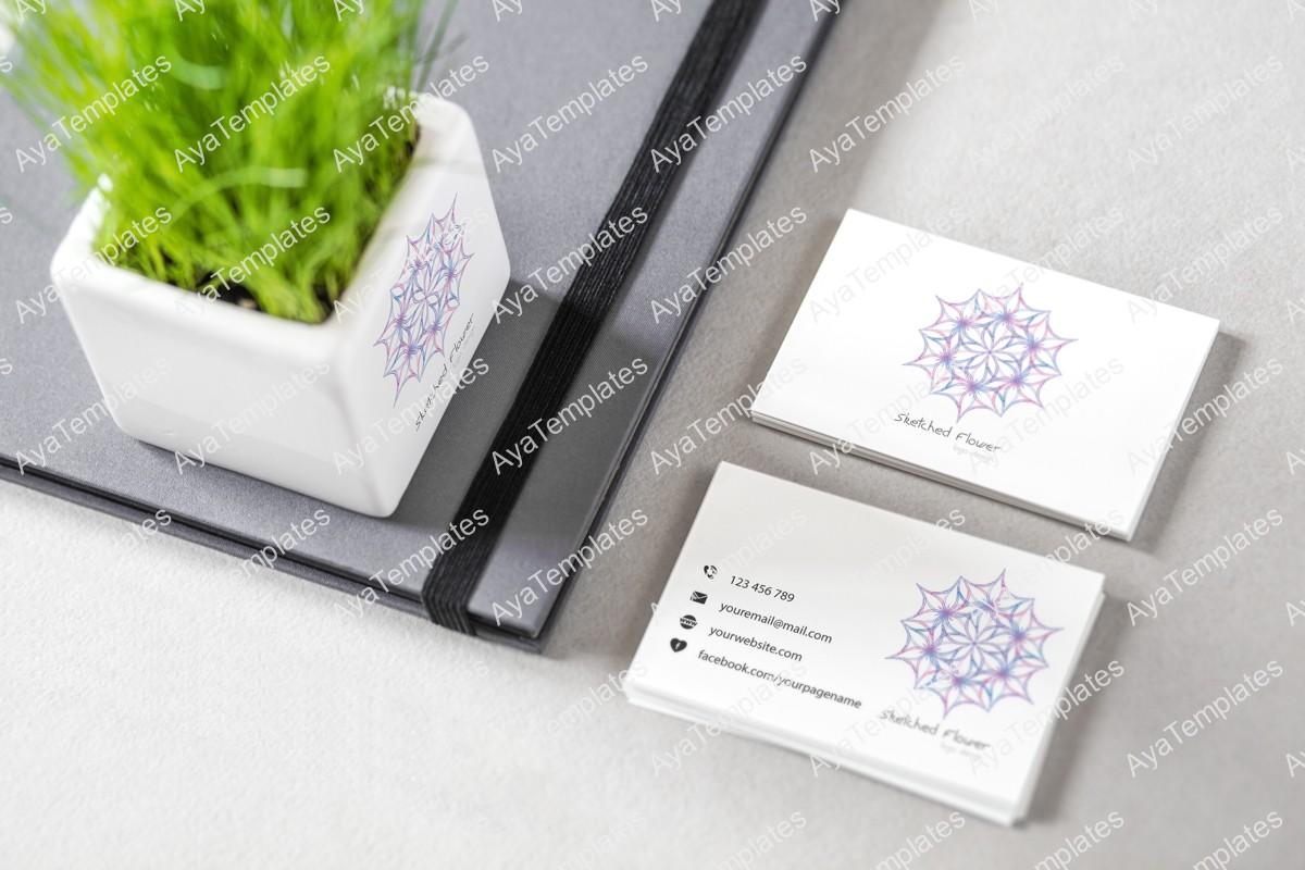 Sketched-flower-logo-branding-mockup-ayatemplates