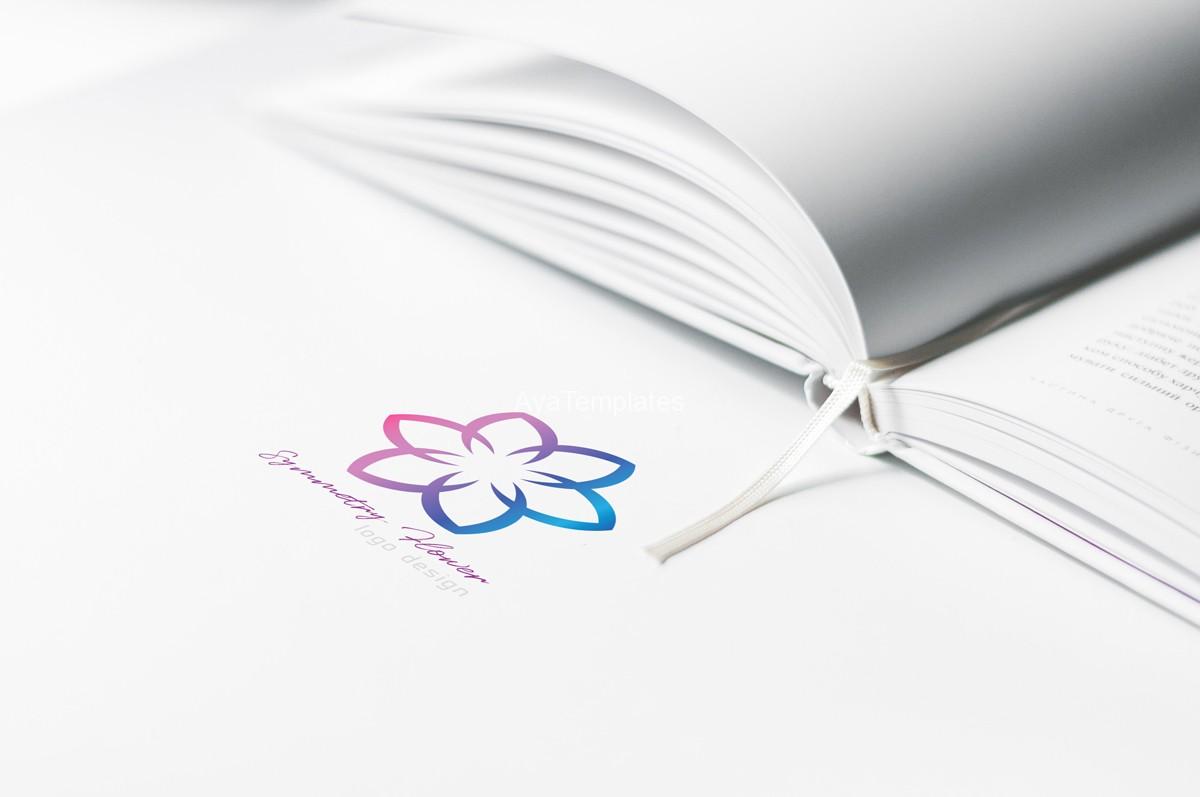 Symmetry-flower-logo-design---bookstore--branding--mockup-ayatemplates